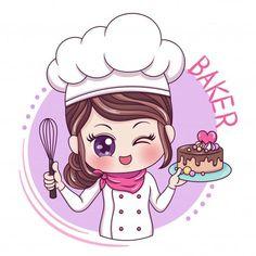 Baking Logo Design, Cake Logo Design, Menu Design, Bakery Logo, Logo Restaurant, Logo Chef, Cartoon Chef, Cute Bakery, Bakery Business Cards