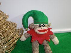 Sock Monkey Doll Christmas Elf by MarysMonkeys on Etsy, $23.00