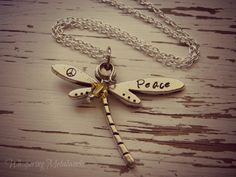 PEACE dragonfly metal stamped necklace - pewter- you choose Swarovski crystal color - with silver plated chain Hand Stamped Necklace, Stamped Jewelry, Metal Jewelry, Jewelry Findings, Jewelry Stamping, Handmade Jewelry, Charms Swarovski, Swarovski Crystals, Browns Gifts