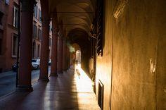 Sunset under the arcades, Bologna by @Asgeir Pedersen, via Flickr
