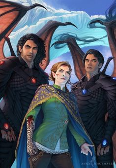 Cassian, Azriel and Feyre by annashoemaker