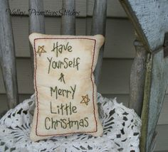 Primitive Merry Christmas Pillow Bowl Filler by valleyprimitives,
