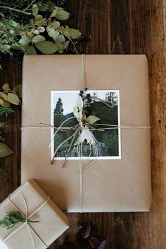 Print your favorite photos as 5x5 cards to personalize brown craft wrapping paper during the holiday season.