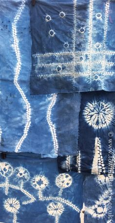 Shibori patterns created with different methods of shibori stitch resist with indigo on latest workshops run by Annabel Wilson of Townhill Studio. Talented and creative individuals made these unique textiles inspired by the natural world.