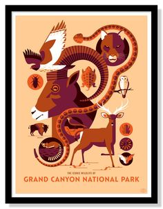Iconic Wildlife of Grand Canyon National Park Poster Art Deco Posters, Vintage Posters, National Park Posters, National Parks, Screen Print Poster, Poster Prints, Tom Whalen, Grand Canyon National Park, Travel Posters