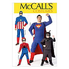 Buy McCall's Men's and Boys Super Hero Costume Sewing Pattern Online at johnlewis.com