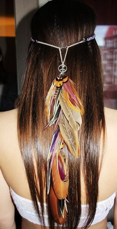 Oh My God--Nature Godess feather headband handmade natural hippie peace hair feathers
