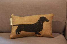 Burlap Pillow  Wiener Dog/Dachshund Burlap by TwoPeachesDesign, $28.00 #dachshund #weinerdog #doglovers