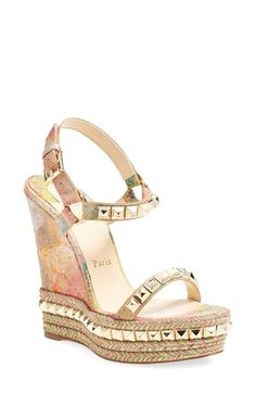 CHRISTIAN LOUBOUTIN 'Cataclou' Wedge Espadrille Sandal. #christianlouboutin #shoes #sandals