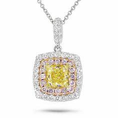 1.62 TCW 18K Gold Fancy Yellow Cushion Cut Pink Diamond Square Pendant Necklace #SageDesignsLA #Pendant