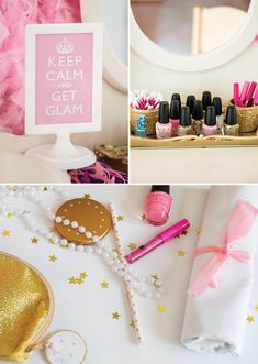 beauty party kids  Pajama Birthday Party http://blog.hwtm.com/2014/09/dreamy-pink-gold-glam-pajama-birthday-party/
