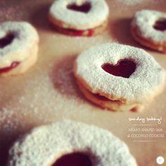 Heart-shaped jam and coconut cookies via brightbazaar.blogspot.com