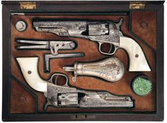 Fancy Engraved Colts | Double-Cased Colt Model 1861 Navy Percussion Revolvers with ...
