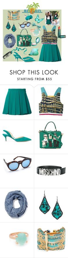 """""""Untitled #1305"""" by jamuna-kaalla ❤ liked on Polyvore featuring Guild Prime, No Ka'Oi, Paul Andrew, Dolce&Gabbana, Le Specs, Moschino, Duffy, Kendra Scott, Bronzallure and Mishky"""