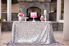 Silver sequin tablecloth from Candy Crush Events Sequin Cake, Sequin Fabric, Mesh Fabric, Buy Fabric, Sequin Skirt, Tablecloth Fabric, Glitter Table Cloths, Wedding Wholesale, Party