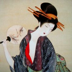 Japanese Geisha with Fan - Edo School Painters Fan Poster, Poster Art, Kunst Poster, Japanese Poster, Japanese Prints, Japanese Art, Japanese Beauty, Geisha Kunst, Geisha Art