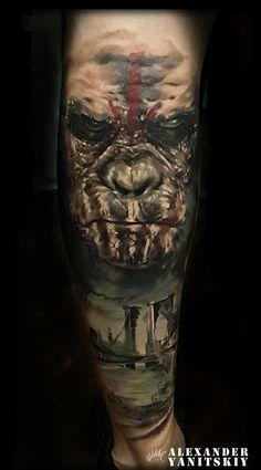 #Gorilla #tattoo by #Alexander #Yanitskiy #Kipod #Kipodtattoo