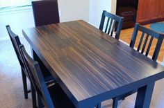 Having previously considered this idea, I was so glad to come across someone who did actually make a table from laminate flooring. It an easy and affordable way to make a dining room table to match your existing decor. Ikea Flooring, Laminate Flooring Diy, Laminate Table Top, Vinyl Plank Flooring, Flooring Ideas, Hardwood Table, Hardwood Floors, Diy Table Top, Make A Table