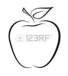 Artistic outline sketch of apple  Vector illustration