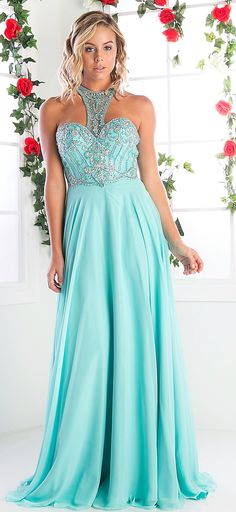 Prom Dresses Evening Dresses UNDER $200<BR>addC231<BR>Halter Prom Dress with Beaded Pattern on Sweetheart Bodice to Racerback.