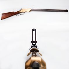 Henry Rifle - This rifle was a 16-shot, .44 caliber repeater that was a fast shooting gun in the Am. Civil War.  But for all its positive attributes, less than 2,000 Henrys were purchased for Union regiments.  Hundreds more were bought by soldiers & officers as private purchases throughout the war year. Many Henrys later went west & this brass-framed gun helped bring forth the Winchester, a lever-action rifle design that continues even today.  At the NRA National Sporting Arms Museum at Bass…