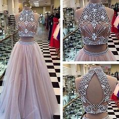 Two Pieces Beaded Sexy Evening Formal Party Prom Pageant Dress Celebrity Gown
