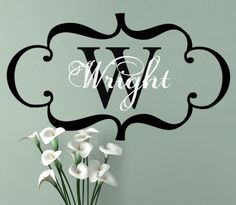 Wall Decal Custom Framed vinyl wall Monogram sticker set  - Personalized Initial and Family Name wall art for Wedding or home decor. $49.00, via Etsy.