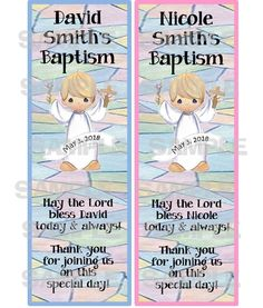 Personalized Precious Moments Baptism Christening Laminated Bookmarks Favors   eBay