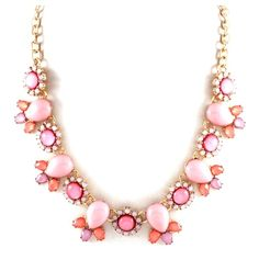 #DaisyGem | Gold Coral Pink Rhinestone Jeweled Crystal Flower Pendant Beaded Statement Necklace
