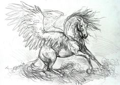 Angel by metzgermeisterrt on DeviantArt Horse Drawings, Animal Drawings, Cool Drawings, Pegasus Tattoo, Engel Tattoo, Horse Sketch, Winged Horse, Unicorn Art, Animal Sketches