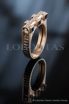 A gold man ring with sapphires, white diamonds, black diamonds :: Porshe ::   Men's Jewelry & Jewels