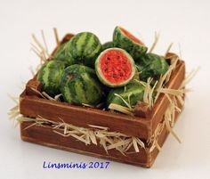 12th Scale Miniature ** Watermelon Crate **...IGMA Fellow #Linsminis