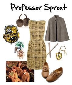 """""""Professor Pomona Sprout"""" by theworldinsidemyhead ❤ liked on Polyvore featuring Sprout, CANADIAN HATS, Prada, A.P.C., Ollio, women's clothing, women, female, woman and misses"""