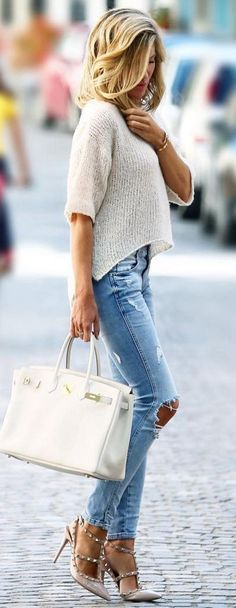 #bs0811 #street #style #fashion #inspiration | Cream Knitted Top + Ripped Denim