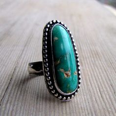 Natural Turquoise {from the Chipmonk mine in Nevada} set in Sterling Silver. Size 8.