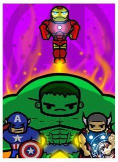 A small part of something bigger i want to work towards. I threw the characters together that I had done so far and whipped up a quick background for it. Hulk, Iron Man, Thor, Captain America - The Avengers!!