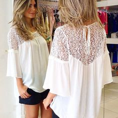 White Patchwork Hollow-out Lace Round Neck Casual Blouse