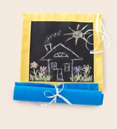 Chalkboard Play Mat: Ideal for keeping young ones occupied, this play mat craft idea—made with chalk fabric—rolls up and ties shut for easy transport. Make this fun-on-the-run idea even better by stitching a pocket or two on the back to tuck an eraser and chalk in. Kids will be entertained for hours with the ability to make endless works of art!