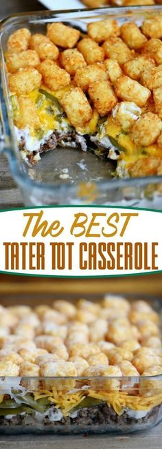the BEST Tater Tot Casserole recipe around! Layers of amazing flavor combine for an easy and delicious dinner any night of the week! This fantastic casserole recipe will quickly become a family favorite! // Mom On Timeout Best Tater Tot Casserole, Potatoe Casserole Recipes, Casserole Dishes, Breakfast Casserole, Potato Recipes, Chicken Recipes, Tater Tot Recipes, Dog Recipes, Recipe For Tater Tot Hotdish