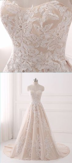 Sweetheart light champagne tulle A-line long train prom dress with appliques #wedding #weddings #gowns #lace #weddingdress #satin #silk #taffeta