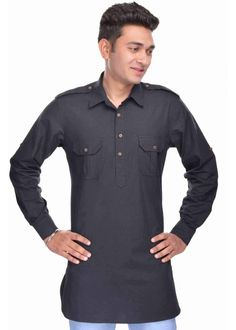 Kalrav Fashion Black Pathani Cotton Kurta