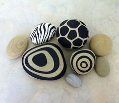 Painted Rocks by Erik Abel SBG pin of the day! River pebbles go ultra modern with a little black paint! Holiday gift everyone can afford. If you absolutely love arts and crafts a person will appreciate this info! Stone Crafts, Rock Crafts, Arts And Crafts, Diy Crafts, Wooden Crafts, Resin Crafts, Paper Crafts, Pebble Painting, Pebble Art