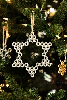 Celebrate your Christmas (and DIY) spirit with these hex nut snowflakes. Pick up the hardware at a local Home Depot or shop here to get all the nuts you'll need to make this cool Christmas ornament.