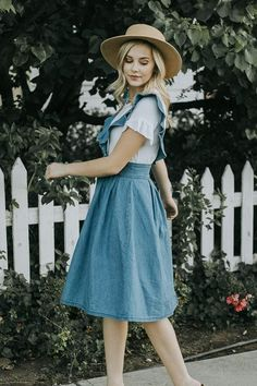 The Aurora Overall Skirt in Denim