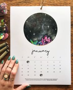 Each month is illustrated with a hand-painted watercolor moon and features a monthly mantra. Sounds like it's going to be a good year.