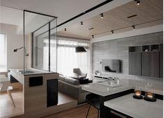 Wooden paneling for ceiling Condo Interior Design, Condo Design, Apartment Interior, Living Room Interior, House Design, Wall Design, Study Room Design, Home Room Design, Home Office Design