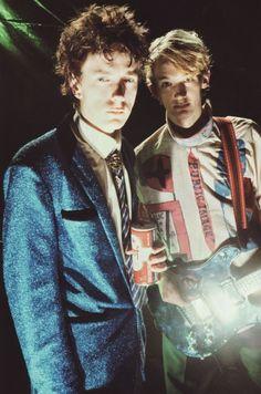 "PIL: John Lydon and Keith Levene on set of ""Public Image"" video shoot, photo by Dennis Morris, 1978 via zombies en el ghetto"