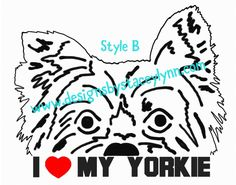 Peek-a-boo Yorkie decal design