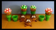 Hot on the tails of the post about the Super Mario Bros cupcake tower I posted yesterday is these awesome Goomba cupcakes by deviant art user tomo-chi. Super Mario Cupcakes, Bolo Super Mario, Mario Cake, Super Mario Birthday, Mario Birthday Party, Super Mario Party, 5th Birthday, Birthday Ideas, Party Party