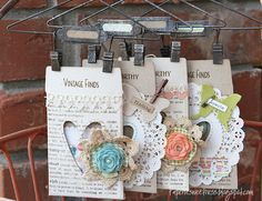 Design team member Tammy Roberts created these perfectly shabby envelopes featuring dies by @Tim Holtz for storing fun vintage finds.  She shows you how on the Sizzix blog: http://sizzixblog.blogspot.com/2012/07/vintage-pockets.html